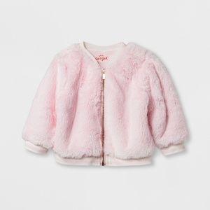 Baby Faux Fur Bomber Jacket - Cat & Jack Pink 12M